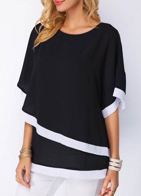 Women Beach Chiffon Shirt Striped Batwing Sleeve O-Neck Casual Ladies Blouse