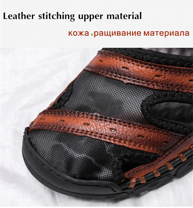 Men's Casual Leather Splice Sandals Outdoor Hand Stitching Wrapped Toe Beach Sandal