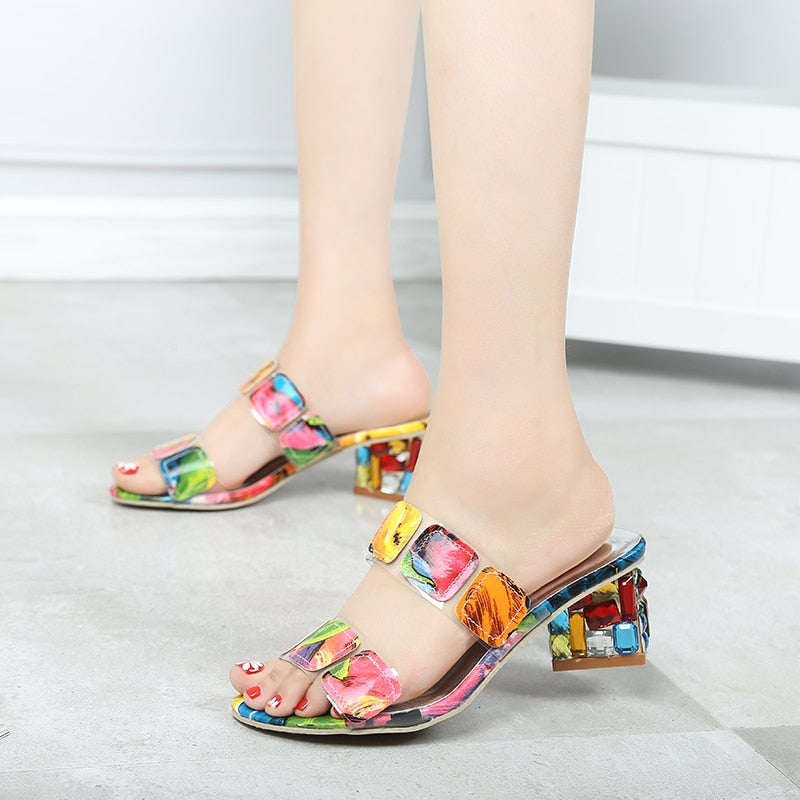 Women Crystal Multi Colors Sandals High Heels Open Toe Beach Flip Flops Heels Shoes