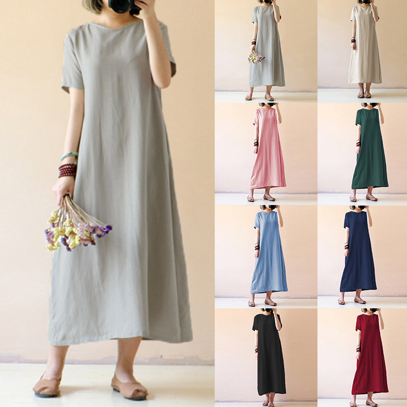 Plus Size Vintage Linen Shirt Dress Short Sleeve Solid Loose Party Beach Maxi Long Dress