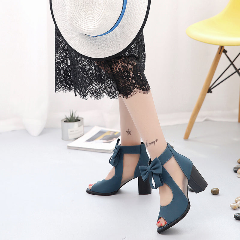 Women Square High Heel Sandals Sexy Peep Toe Bowtie Thick Mesh Sandal Shoes