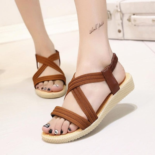 Women Bohemia Summer Sandals Comfortable Flip Flops Elastic Band Flat Sandals