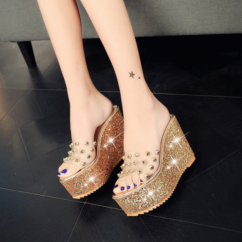 Women Summer Transparent Wedge Sandals Platform Slides Shiny Glitter Slippers