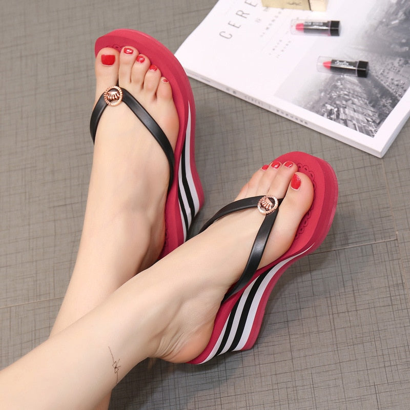 Woman Colorful Flip Flops Heigh Heel Wedges Sandal Slippers Beach Shoes