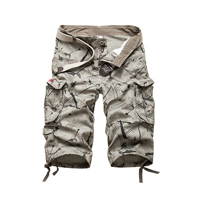 Men's Cotton Cargo Shorts Summer Fashion Camouflage Multi-Pocket Shorts