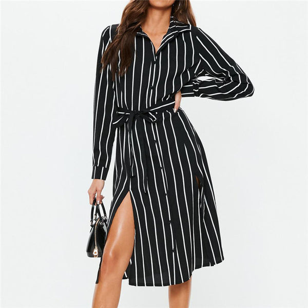 Women Chiffon Striped Shirt Dress Tunic Long Sleeve Midi Elegant Dress