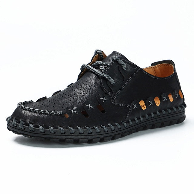 Men's Split Leather Sandals Summer Breathable Comfort Beach Sandals Shoes