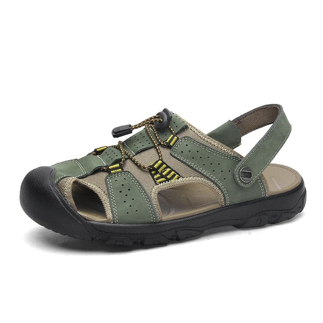 Men's Leather Classic Roma Sandals Outdoor Beach Flip Flops Sandals
