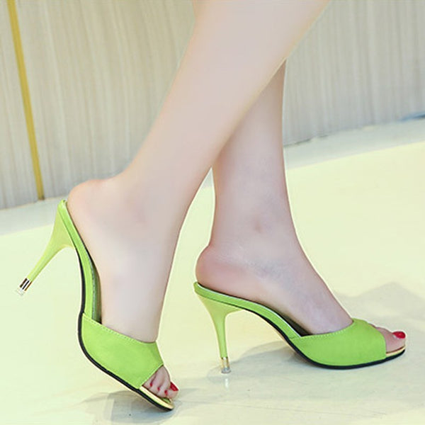 Women High Heels Sandal Shoes Sexy Black Slippers Sandals