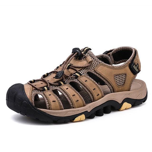 Men's Genuine Leather Sandals Outdoor Beach Roman Water Sneakers
