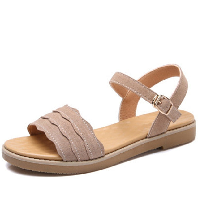 Women Summer Ankle Buckle Strap Sewing Flat Sandals Solid Comfort Casual Sandals