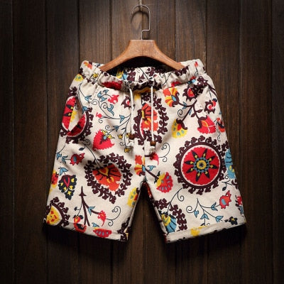 9 Colors Men's Casual Beach Floral Shorts Summer Straight Cotton Linen Shorts