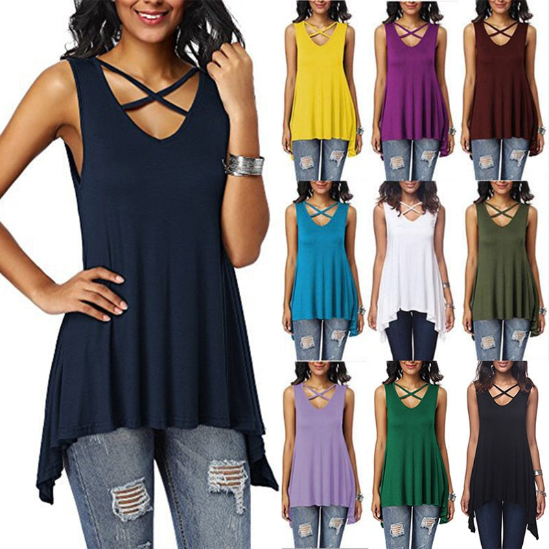 Sleeveless V-Neck Blouses Criss Cross Tops Solid Color Shirt Irregular Loose Tops
