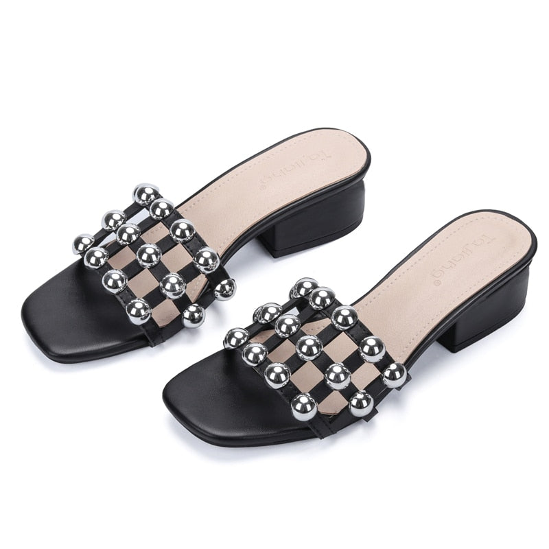 Genuine Cow Leather Rivets Women Gladiator Sandals Square High Heels Beach Slippers
