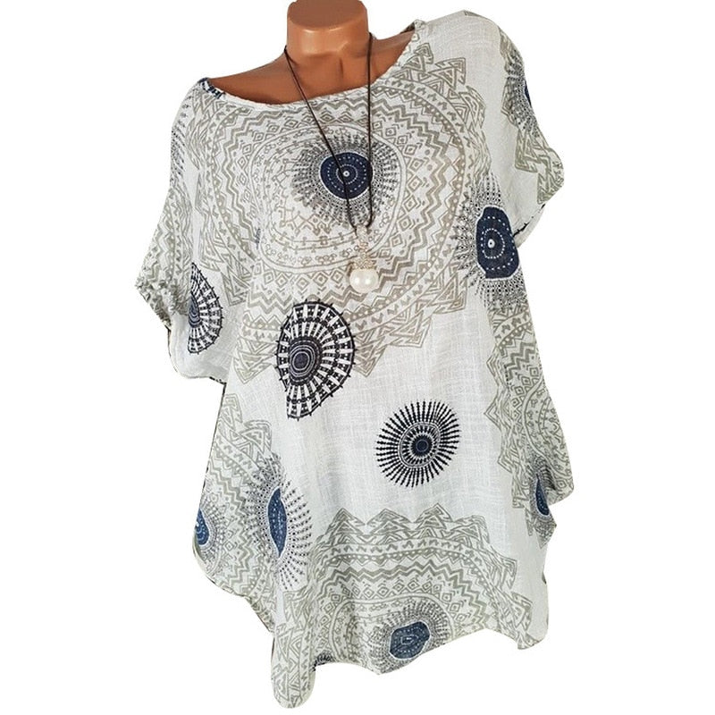Women Plus Size Short Sleeve Boho Blouse V-Neck Loose Casual Wear Shirts Blouse