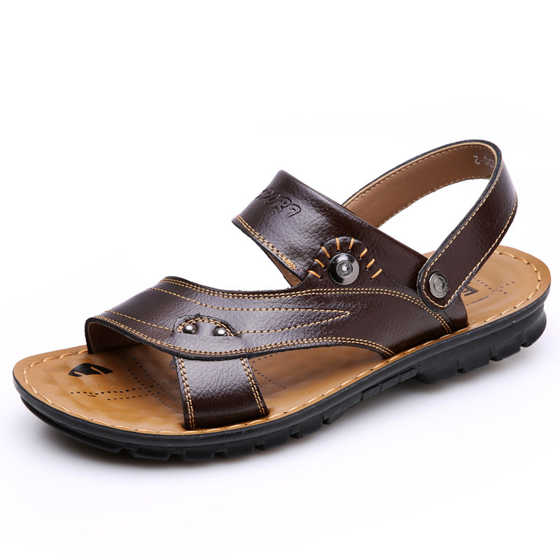 Men's PU Leather Sandals Beach Flats Flip Flops Slippers Shoes