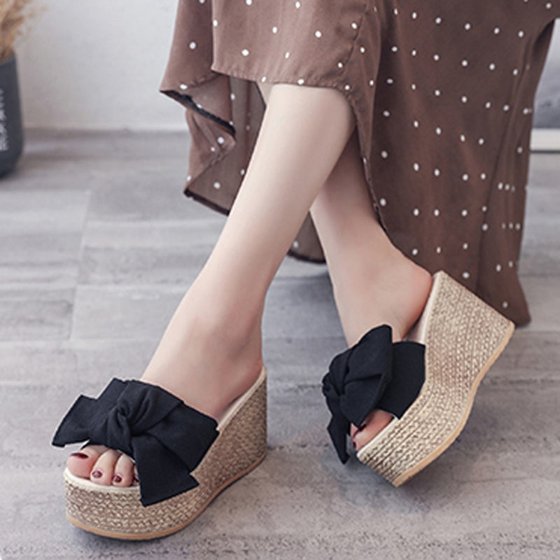 Women Wedge Sandals Solid Thick Bottom Slipper Shoes
