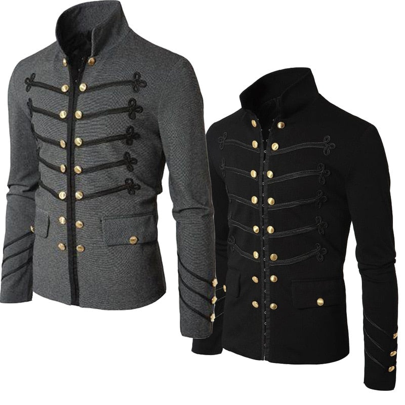 Men Gothic Vintage Fit Slim Coat Patchwork Button Outwear European Medieval Style Classic Jacket Steampunk Army Coat