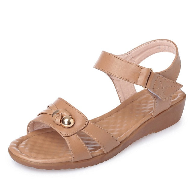 Mother Women Genuine Leather Large Size Soft Soled Style Comfortable Sandals