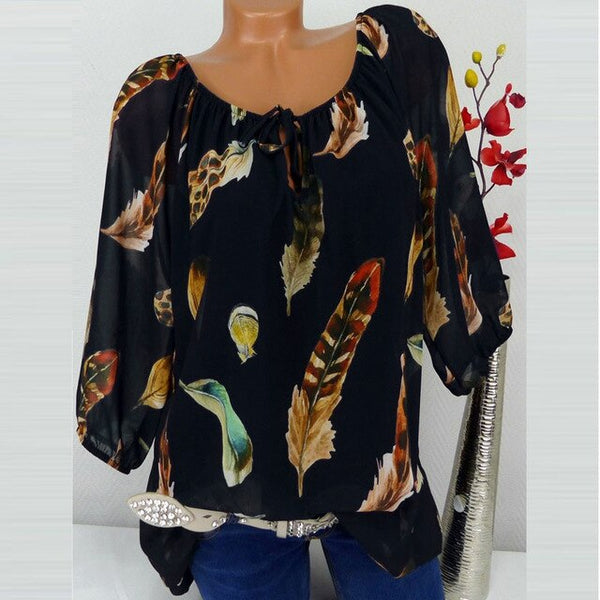 5XL Plus Size Women Shirt Blouses Tunic 3/4 Sleeve Loose Chiffon Blouse Tops
