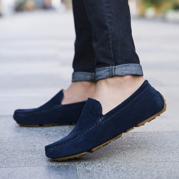 Men Loafers High Quality Genuine Leather Shoes Men Flats Suede Driving Shoes