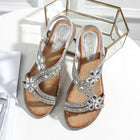 Women Bohemia Style Flats Sandals Bling Flower Crystal Beach Sandals Shoes