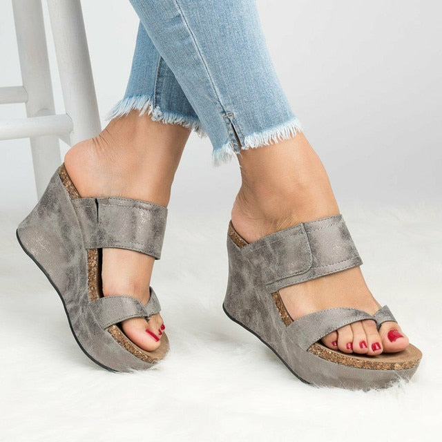 Women Plus Size High Heels Flip Flop Platform Slippers Wedges Sandals