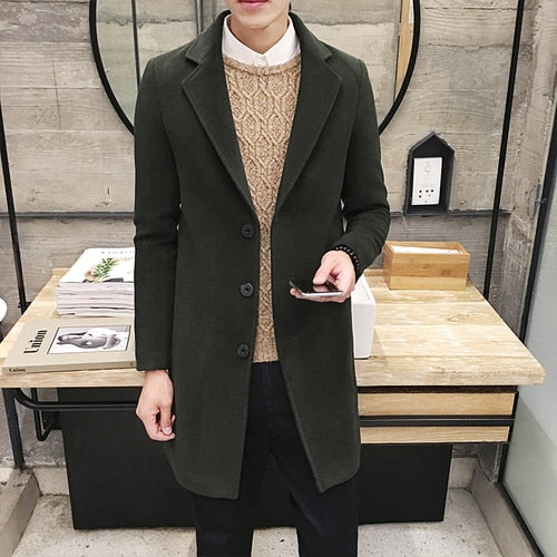 Men's Woolen Coat 5XL Large Size Slim Long Trench Coat Fashion Slim Wild Men's Jacket