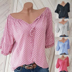 Women Polka Dot Print V Neck Blouse Half Sleeve Shirt Tops Plus Size