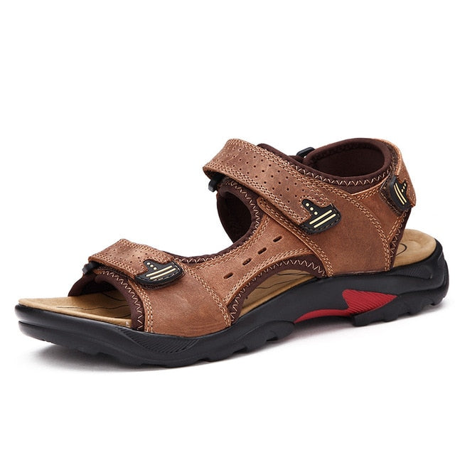 Men's Genuine Leather Soft Sandals Comfortable Beach Roman Sandals