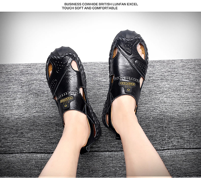 Men's Leather Beach Sandals Outdoor Breathable Casual Footwear Walking Sandals