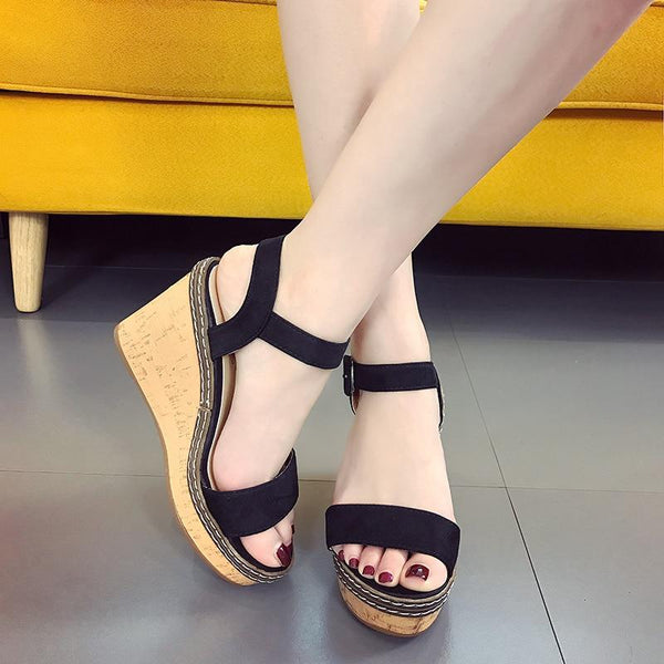Women Summer Platform Sandals Fish Mouth High Heels Wedge Sandal Shoes