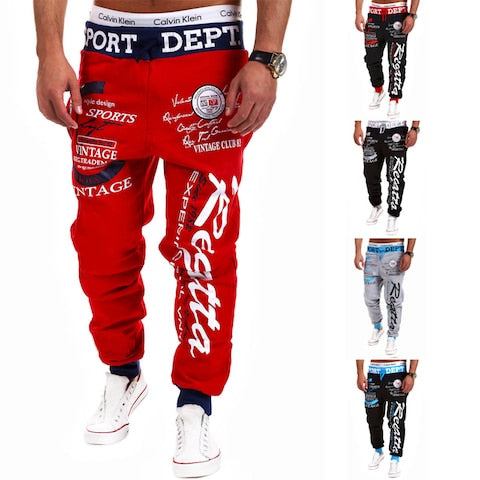 Men Trousers Good Quality Letter Printing Baggy Cool Joggers Plus Size Drawstring Long Pants