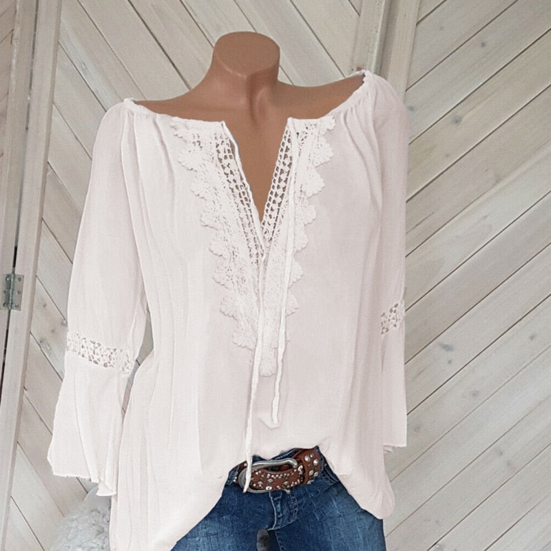 Women Lace Casual Blouse V-neck Long Sleeve Tops