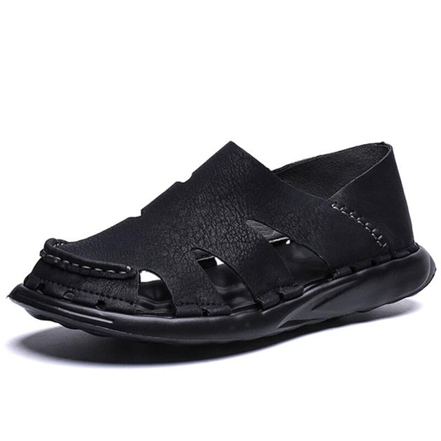 Men's PU Leather Sandals Roman Gladiator Style Outdoor Beach Sandals Shoes