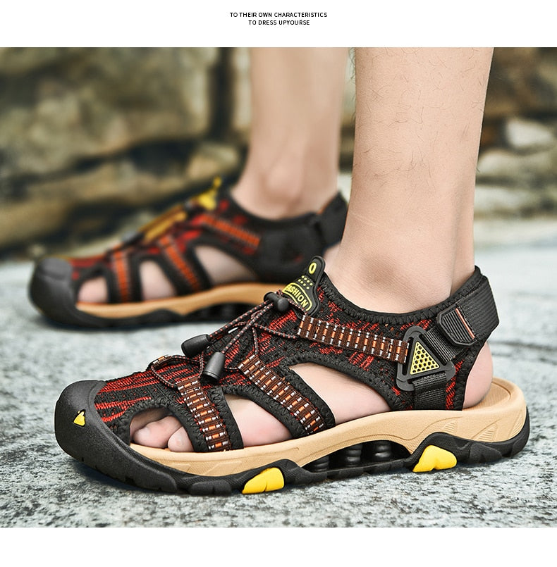 Men's Fly Woven Outdoor Sandals Shoes Walking Beach Water Sneakers