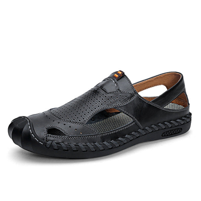 Men's Cow Leather Sandals Summer Beach Flat Non-slip Sandals