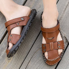 Big Size Men Genuine Leather Sandals Beach Casual Large Slippers Flats Shoes