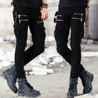 Denim Biker Jeans Mens Skinny Runway Distressed Slim Elastic Jeans Washed Skateboard Trouers Streetwear