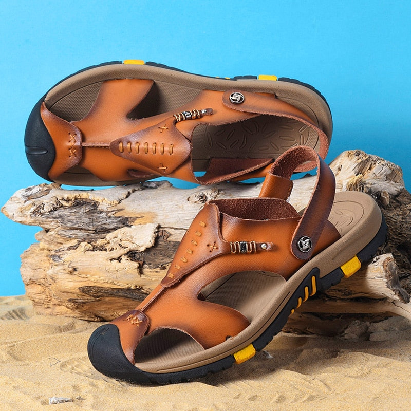 Men's Genuine Leather Roman Sandals Outdoor Slipper Sneaker Beach Flip Flops Shoes