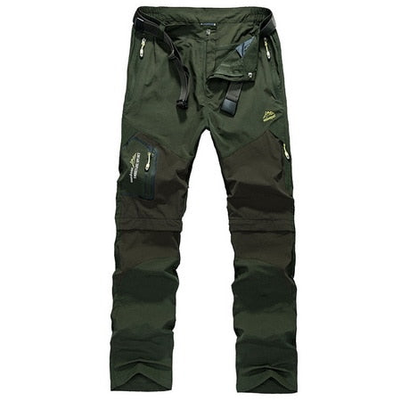 Men's Summer Cargo Pants Breathable Quick Dry Trousers Casual Zip-Off Pants