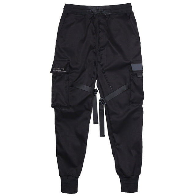 Motorcycle Pants Hip Hop Fashion Joggers Men Black Casual Trousers Modis Pantalones Streetwear Reflective Techwear