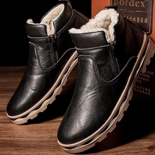Men's Snow Boots Rubber / Microfiber Winter Boots Mid-Calf Boots Black / Brown