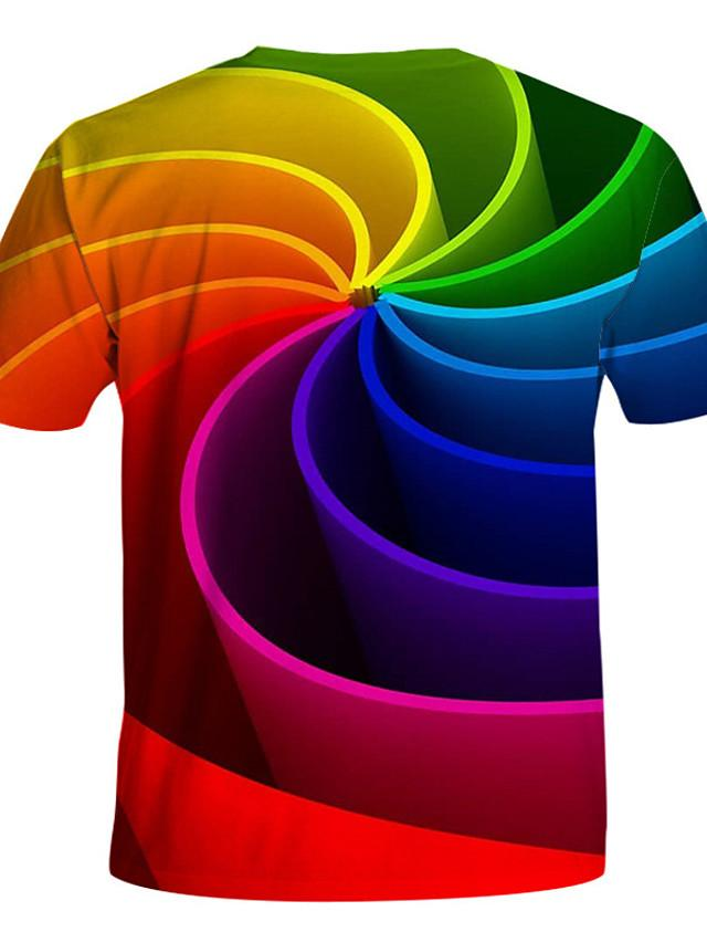 Kids Toddler Boys' Active Basic Geometric Print Color Block Print Short Sleeve Tee Rainbow