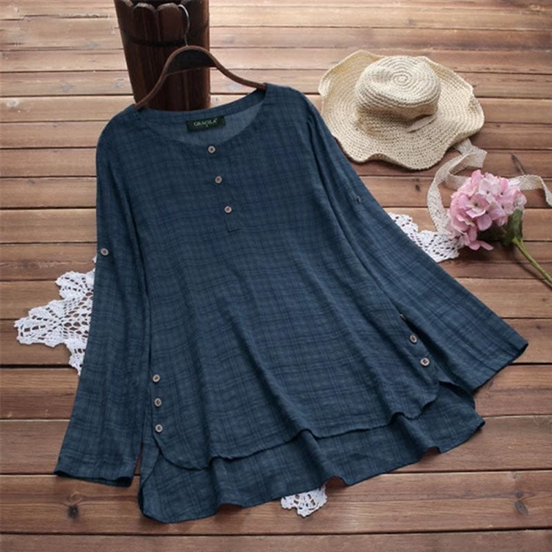 Women Plaid Blouse Long Sleeve Button Shirt Chemise Asymmetrical Hem Blouse Plus Size 5XL