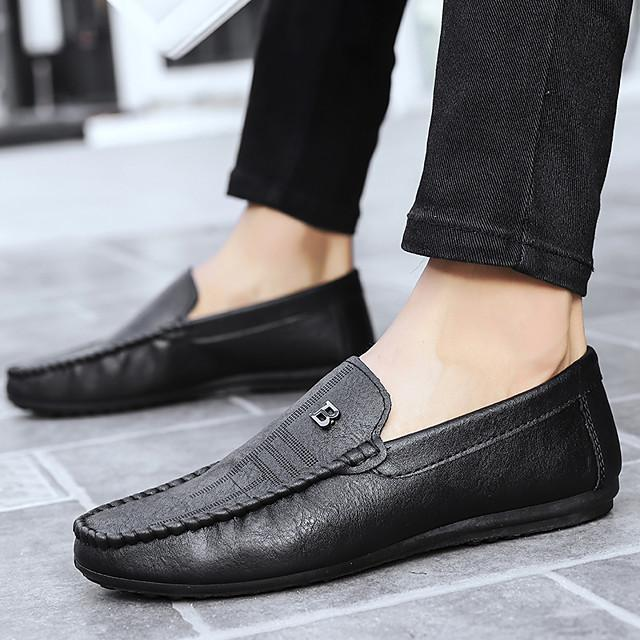 Men's Fall Casual Daily Loafers & Slip-Ons Walking Shoes Sheepskin Breathable Non-slipping Wear Proof Black / Brown / Beige