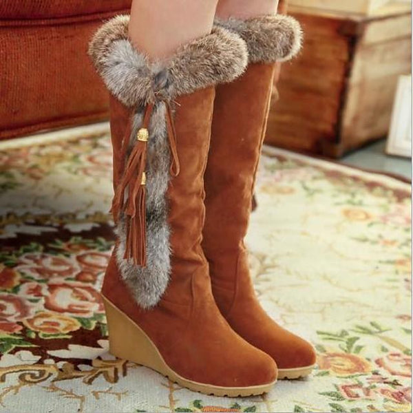 Women's Boots Wedge Heel Round Toe Daily Solid Colored Suede Mid-Calf Boots Black / Orange / Brown