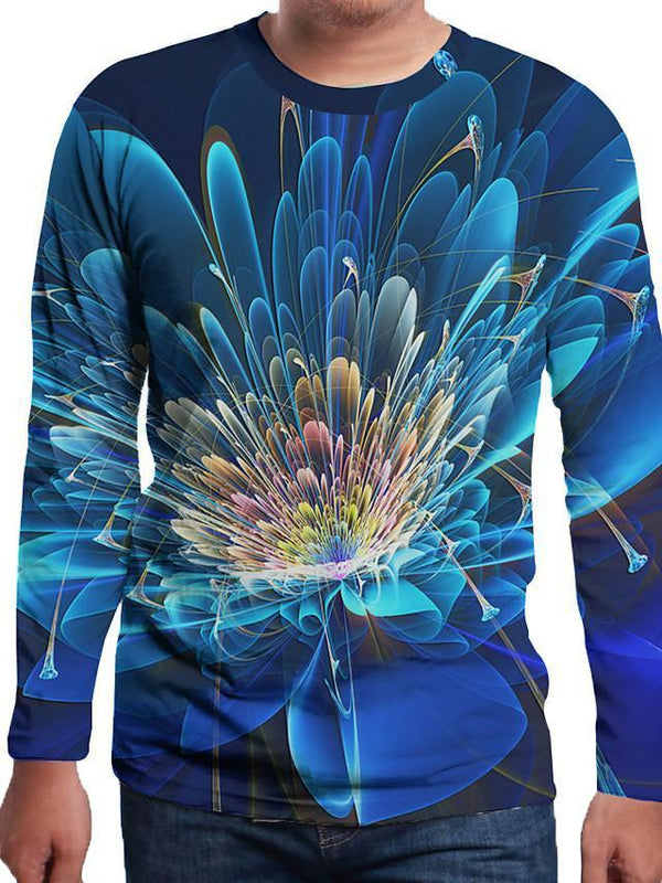 Men's Floral 3D Print T-shirt Holiday Daily Wear Round Neck Royal Blue / Long Sleeve