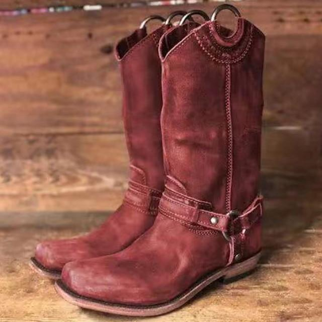 Women's Boots Cowboy Western Boots Flat Heel Round Toe Vintage British Daily Buckle Solid Colored PU Mid-Calf Boots Black / Red / Brown