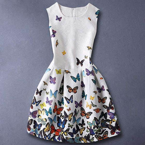 Kids Girls' Basic Sweet Daily Butterfly Floral Print Sleeveless Dress White